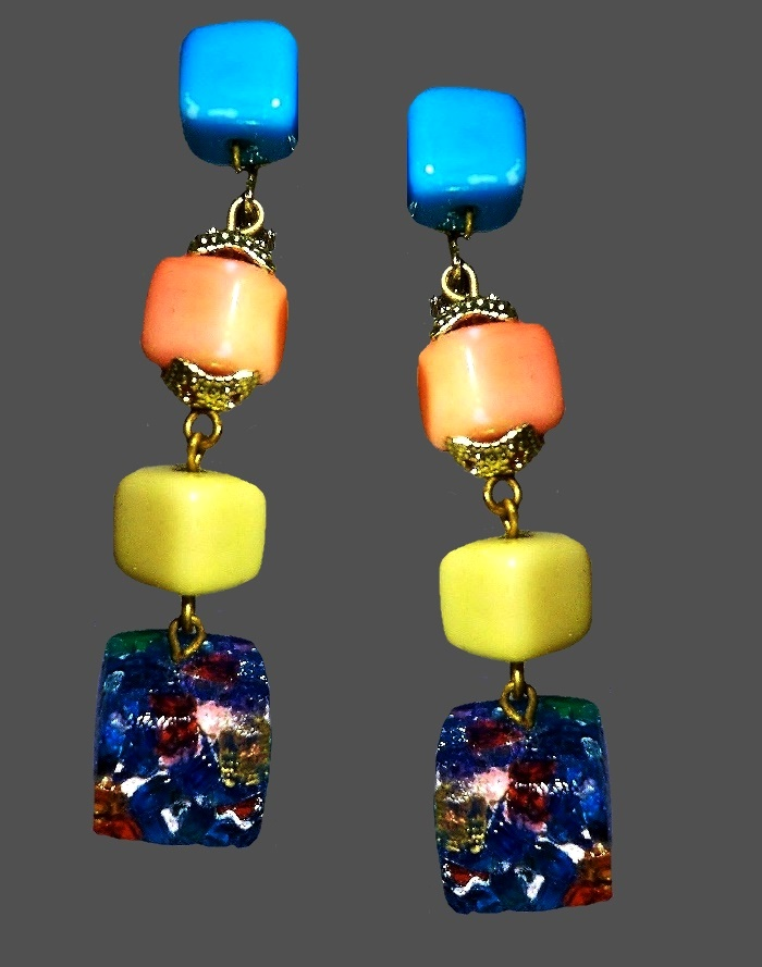 Gorgeous pastel and confetti rock earrings. 1936, signed Vogue Jlry