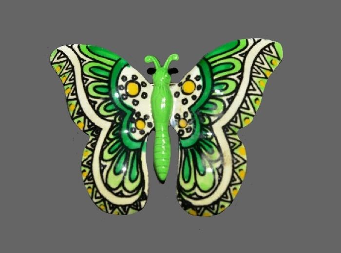 Green and yellow butterfly handpainted enameled brooch