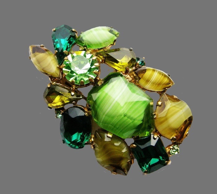 Green brooch made of large glass cabochons, crystals, jewelry alloy. 6 cm