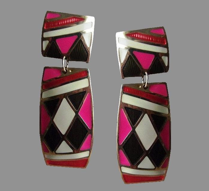 Harlequin stud earrings. metal alloy, colored enamel, guilloche. 5.7 cm