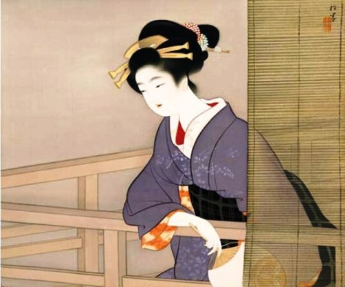 'Kyo Bizin no Dzu' (Beauties of Kyoto), artist Uemura Shoen, circa 1932-1935. A woman's hair decorations speaks eloquently about the change of seasons