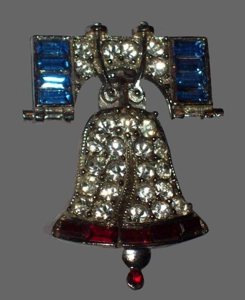 Liberty Bell brooch. Jewelry alloy, rhinestones
