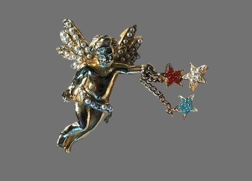 Little Angel with stars, gold tone metal, rhinestones