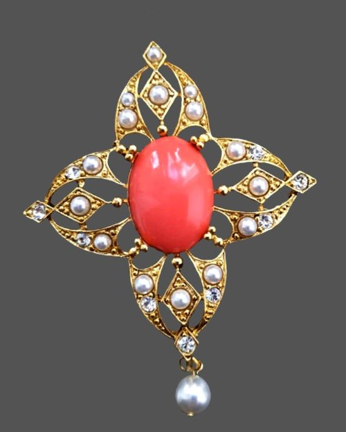Maltese cross pendant with pink cabochon in the center. Jewelry alloy, faux pearls