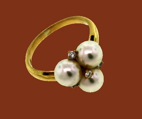 Mikimoto Pearl Ring with Diamond Accents