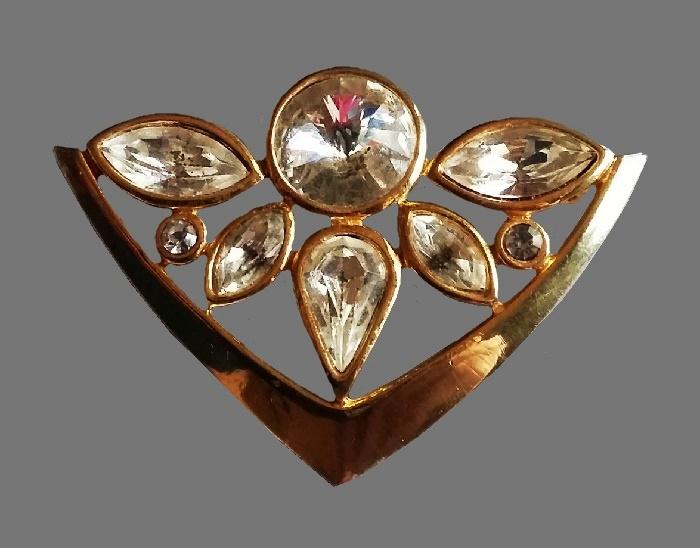 Modern crystal brooch. 1950s. 6 cm