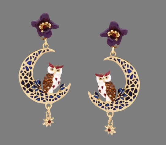 Moon Owl earrings. Gold plated, enamel, rhinestones
