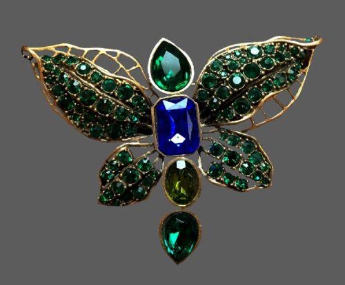 Moth brooch. Large emerald amber and blue crystals, gold tone metal