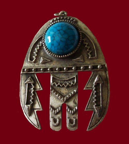 Native American motif silver tone blue cabochon pendant. 1960s