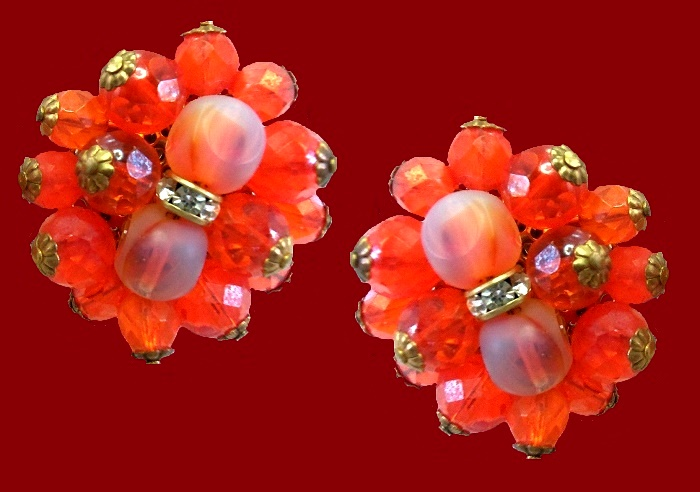 Orange Aurora Borealis crystal clip on earrings. 1960s