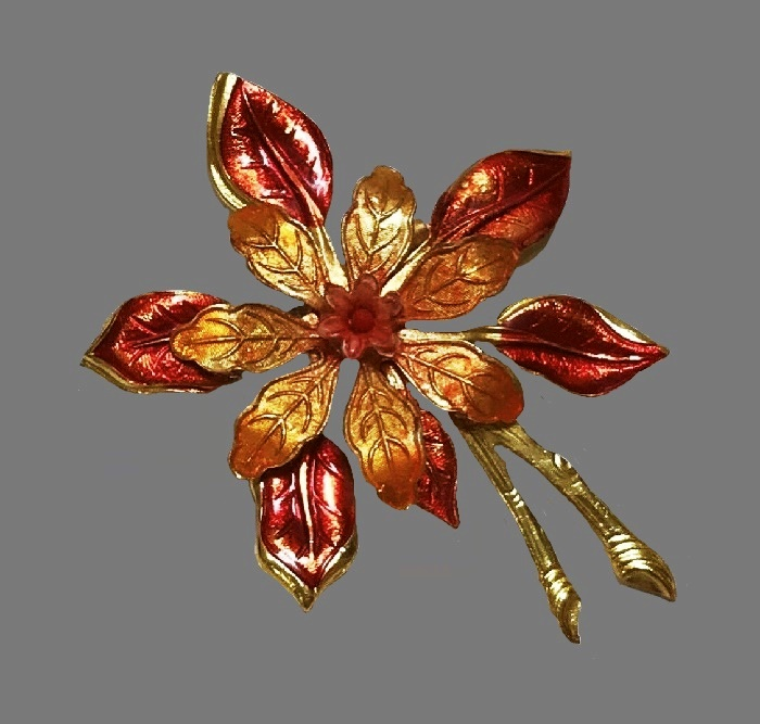 Orange flower broopch. Gold tone textured metal, enamel