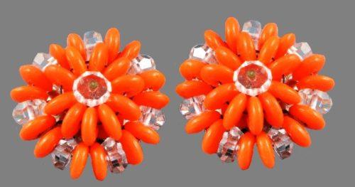 Orange lucite, clear crystal vintage earrings