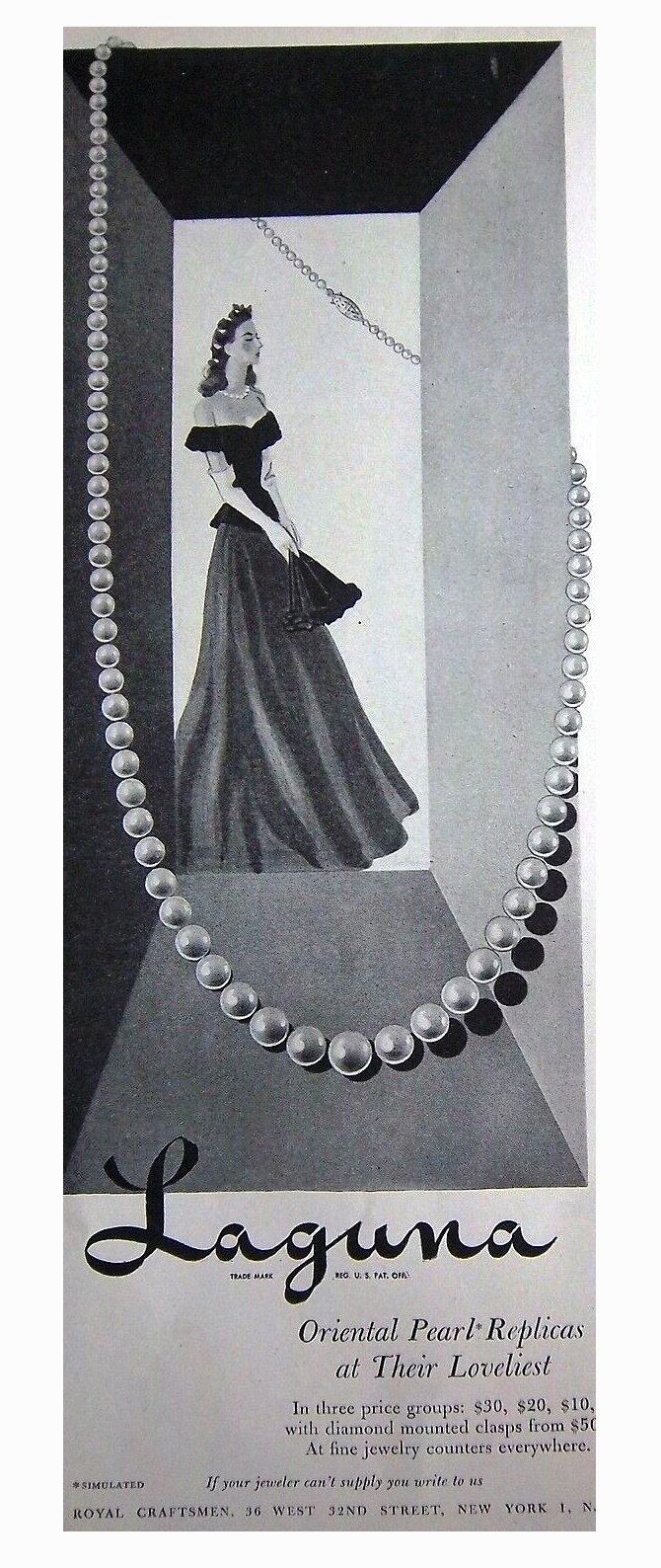 Oriental pearl necklace, vintage ads, 1944