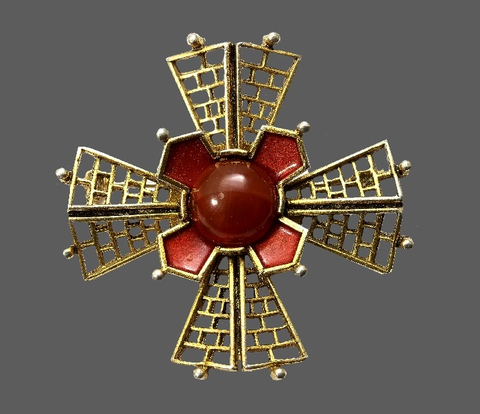 Ornate Maltese Cross design brooch. Red enamel, faux carnelian cabochon, gold tone jewelry alloy