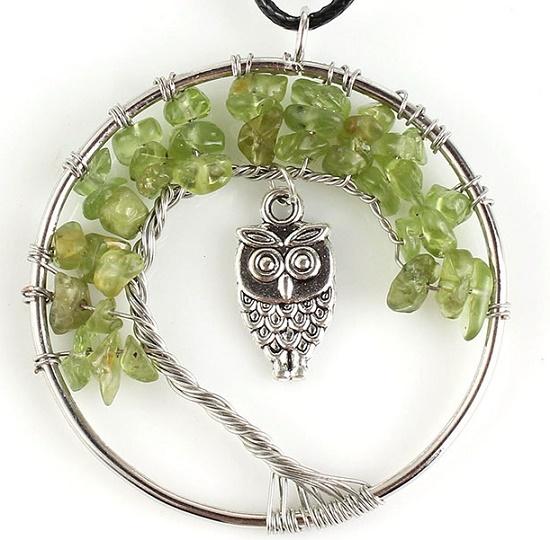 Owl Pendant with olivine stones