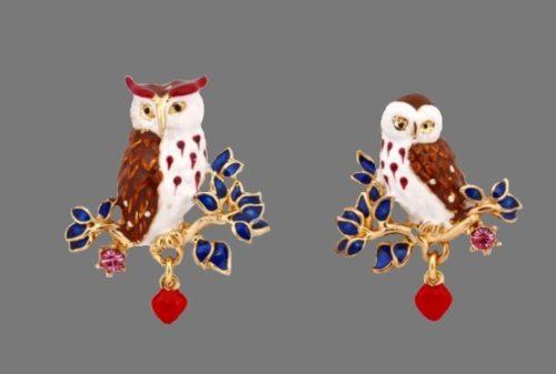 Owl gold plated enamel, rhinestones earrings