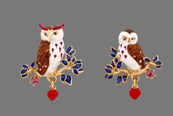 Owl gold plated enamel, rhinestones earrings