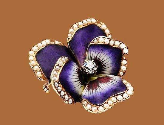 Pansy flower brooch. Rhinestones, enamel, faux pearl