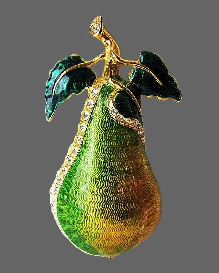 Pear vintage brooch. Gold tone jewelry alloy, enamel, rhinestones. 8 cm