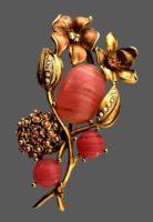 Pink cabochon flower brooch. Gold tone metal, rhinestones, enamel