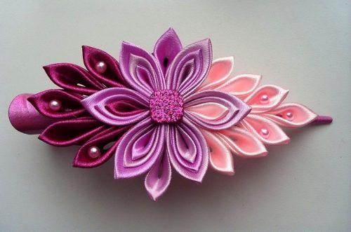 Pink silk flower hair pin
