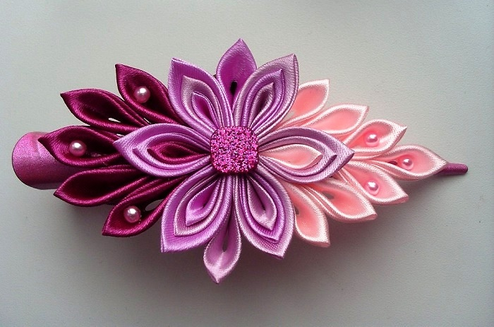 Pink silk flower hair pin