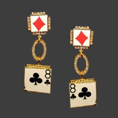 Playing cards earrings. Jewelry alloy of gold tone, enamel, rhinestones