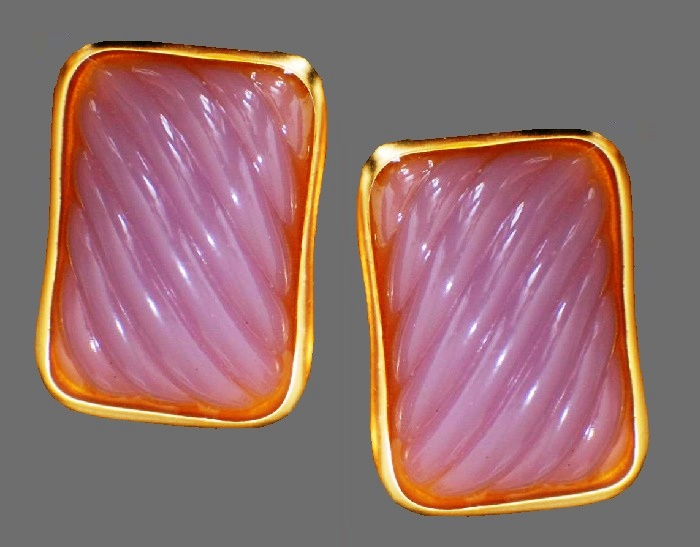 Purple lucite gold tone rectangular earrings