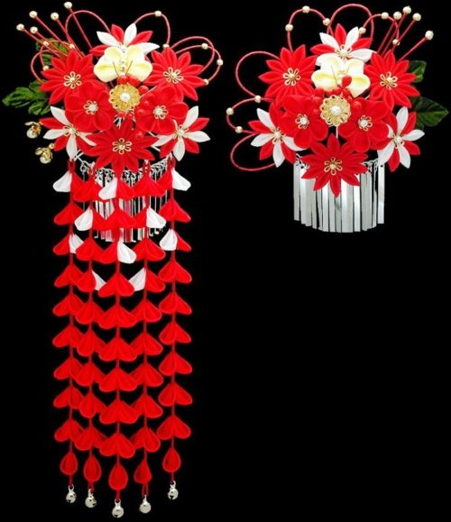 Red accent flower decorations for hair
