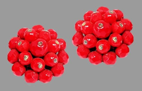 Red lucite berry style clips