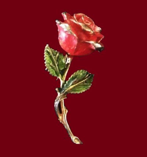 Rose enameled brooch