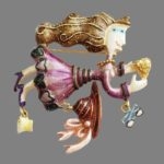 Flying lady brooches – Karen Rossi jewelry art