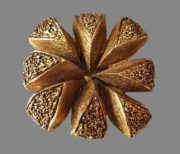 Square shaped textured gold tone metal brooch