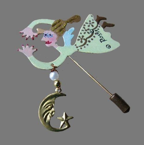 Star Fairy brooch. Jewelry alloy, enamel, faux pearl. 6 cm
