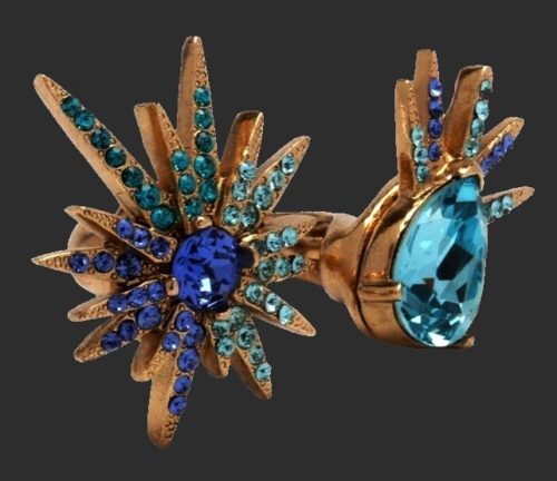 Star shine double ring. A scattering of sea-colored crystals delights with its brilliance and luxury