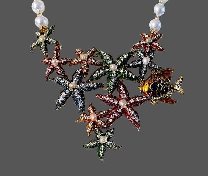 Starfish necklace. Faux pearls, rhinestones, jewelry alloy