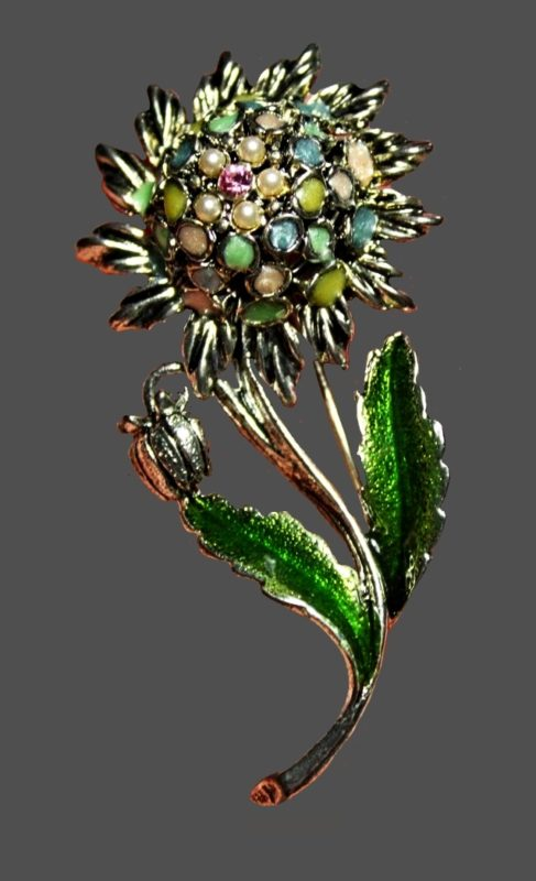 Sunflower brooch. Jewelry alloy, enamel, rhinestones, faux pearls. 6 cm