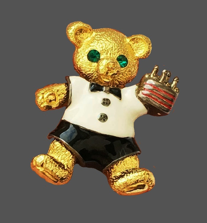 Teddy bear transformer brooch. Gold tone metal, enamel, 14 K gold plated, enamel, Swarovski crystals. 5 cm