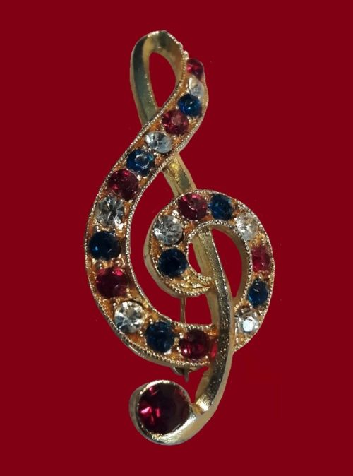 Treble Clef brooch. Jewelry alloy, rhinestones