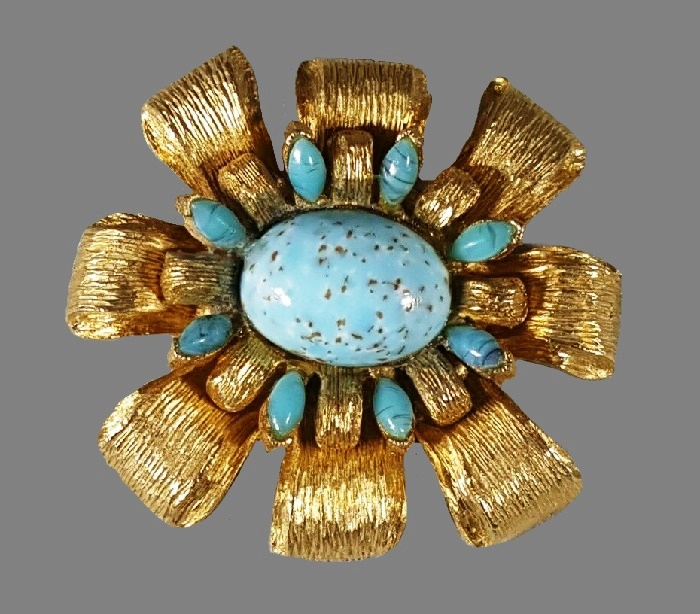 Turquoise glass gold tone flower brooch
