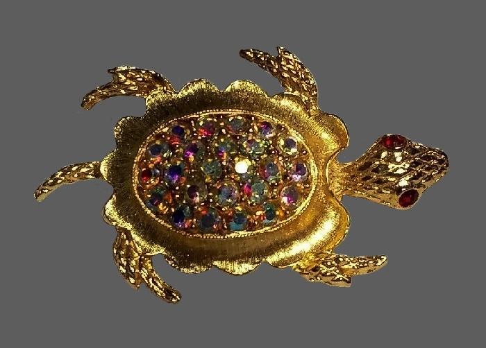 Turtle gold tone brooch, Aurora Borealis crystals, rhinestones