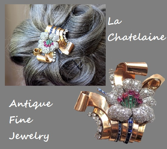 Used as hair ornament 18K yellow gold and platinum brooch clip. Double clip that forms a flower with 3 scrolled leave petals in diamonds, sapphires, rubies and emerald. 1950-1960s. La Chatelaine antique fine jewelry