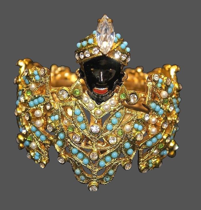 Venetian moro bracelet. Gold tone metal, faux pearls, crystals, rhinestones, enamel