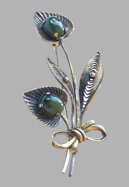 Vintage Curtis Creation Sterling Silver brooch with glass cabochons