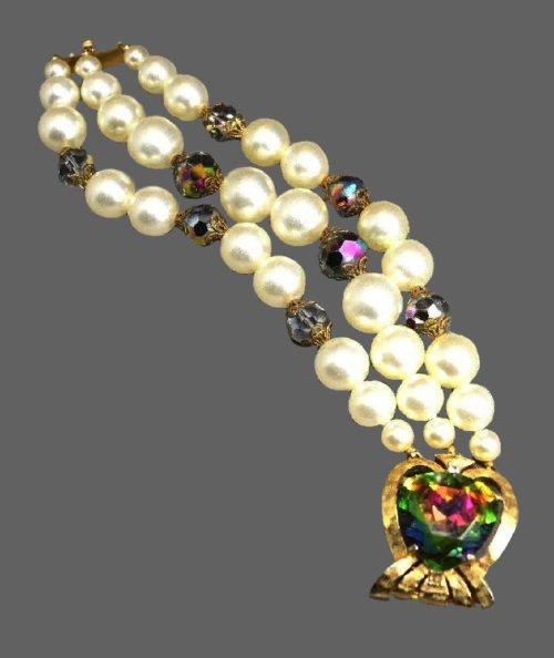 Watermelon crystal faux pearl gold tone bracelet