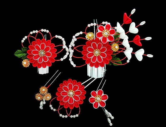 White and red flower hair pins