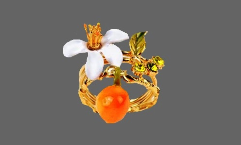 White lily and orange bracelet, gold plated, enamel, rhinestones