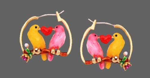Yellow and pink canary with heart earring. 14K gold plated, pearls