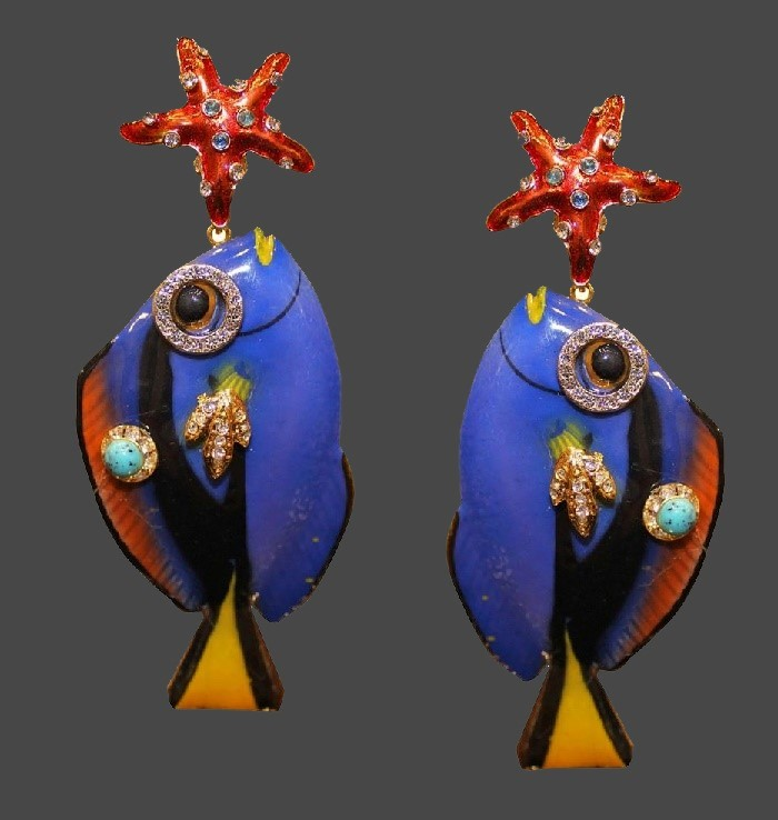 Tropical fish enameled earrings decorated with rhinestones and crystals