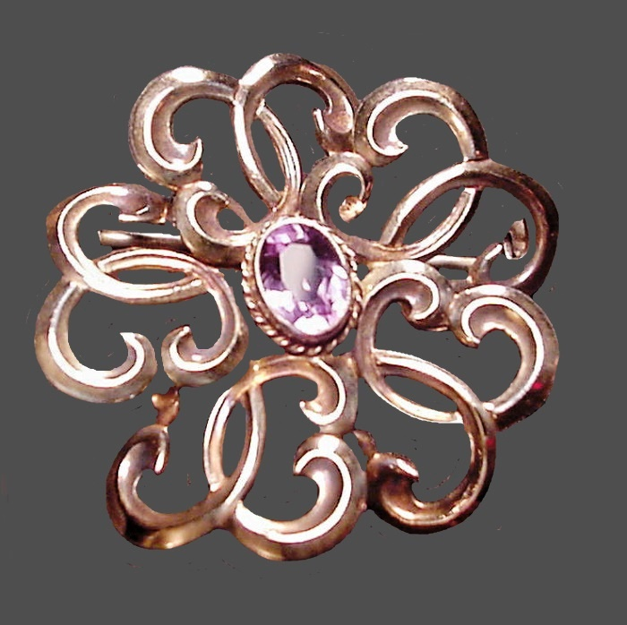14K Gold filled ornate pin brooch with purple stone